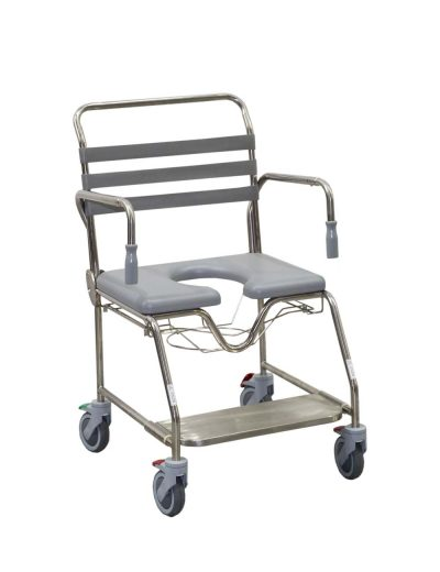 Mobile Shower Commode Sliding Footplate Bariatric