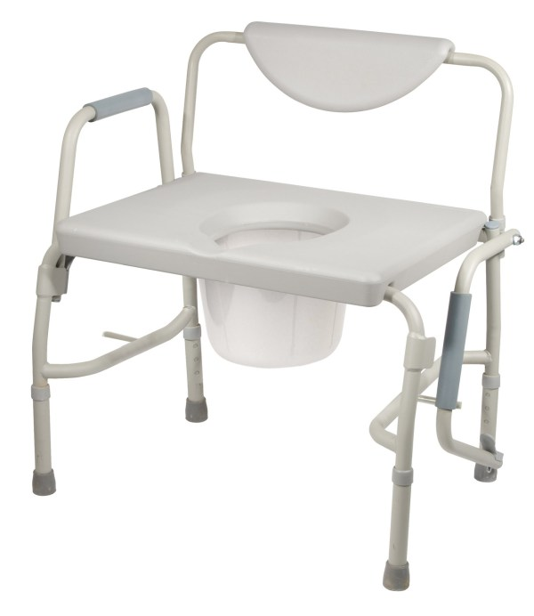 Commode 3 in one Bariatric Drop Arms >225 Kg - Wide Seat