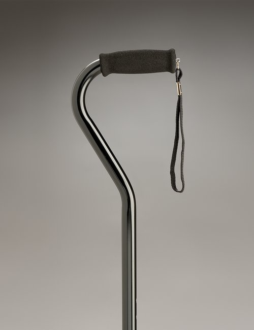 Walking Stick Adjustable Swan Neck Black